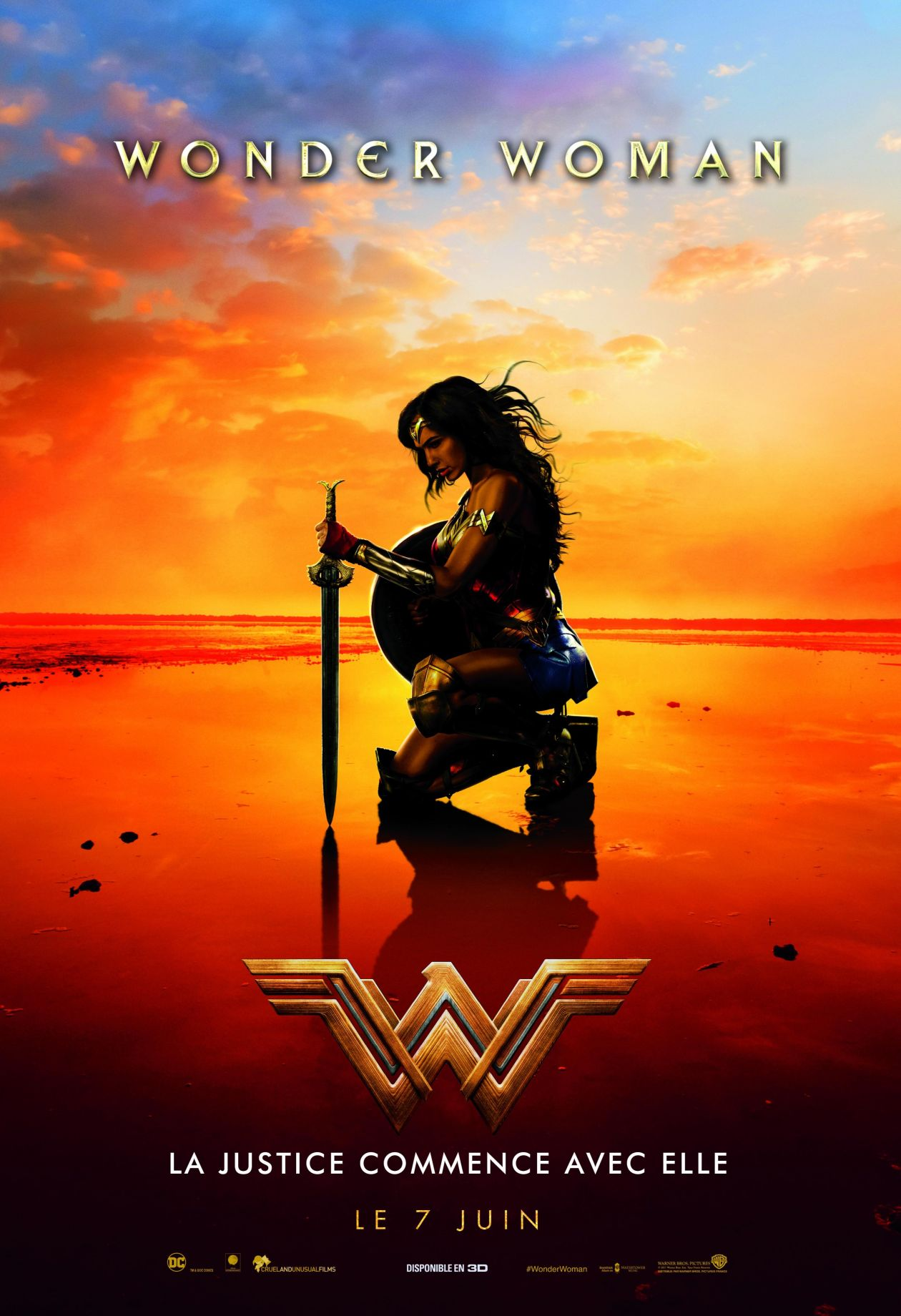 Gal Gadot actress | Wonder Woman / Patty Jenkins 2017 Movie Poster Affiche film