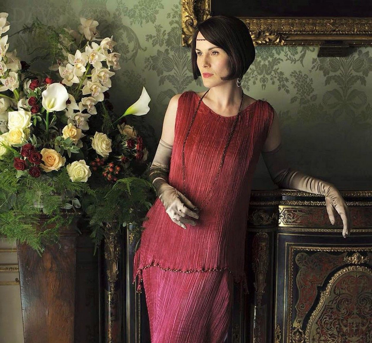 Michelle Dockery actress | Fortuny Delphos gown (Dress / Robe Fortuny) | Lady Mary / Downton Abbey