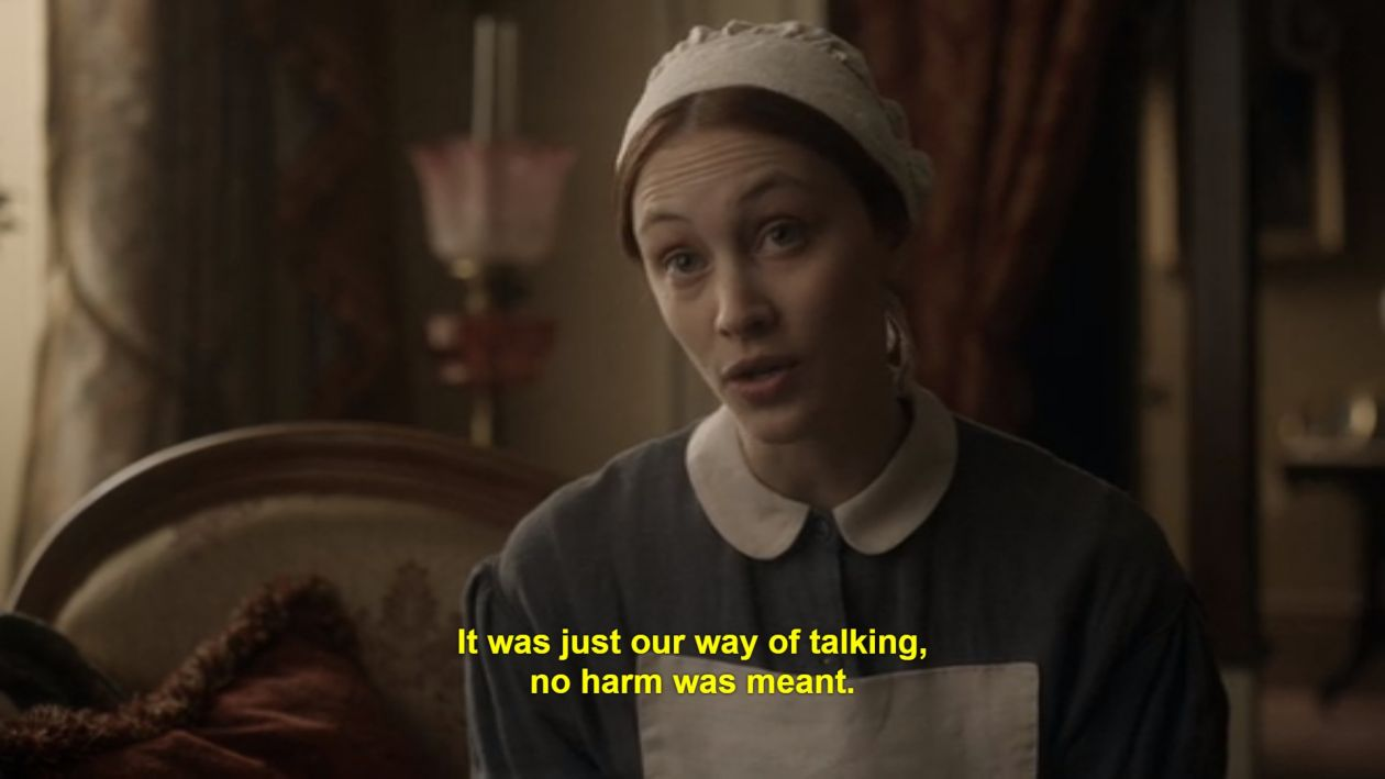 "Sarah Gadon: ""You can't tell anybody what you really think. You have to maintain the ambiguity. - Margaret Atwood gave me marching orders"" / Alias Grace, Netflix"