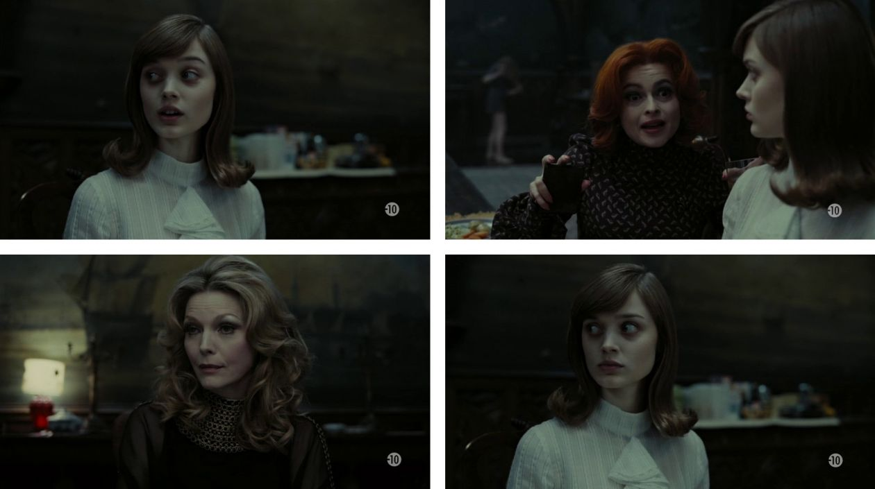 How do you ever expect to live with us if you keep introducing each other with labels / Comment veux-tu que nous les filles on aille de l'avant, si on se laisse étiqueter comme ça ? | Dark Shadows, Tim Burton |  | Bella Heathcote, Helena Bonham Carter, Michelle Pfeiffer