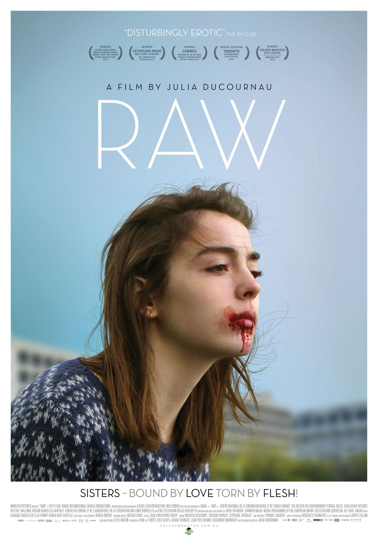 Garance Marillier French Actress actrice comédienne | Grave / Raw / Julia Ducournau 2016 / Movie Poster / Affiche du film